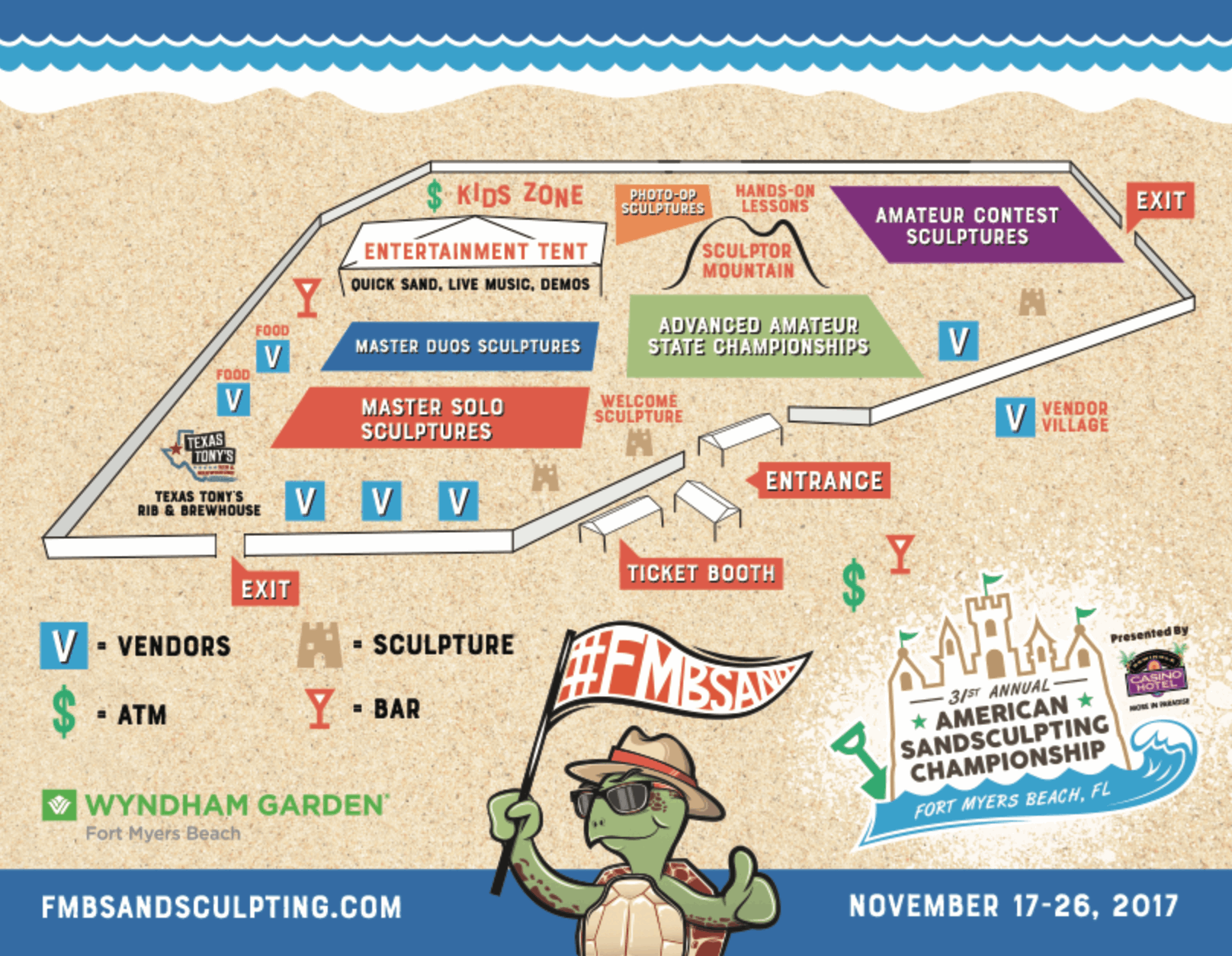 Event Map - Fort Myers Beach Sand Sculpting Championship